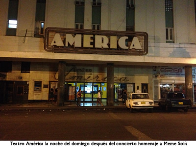America Theater on Sunday night after the tribute concert to Meme